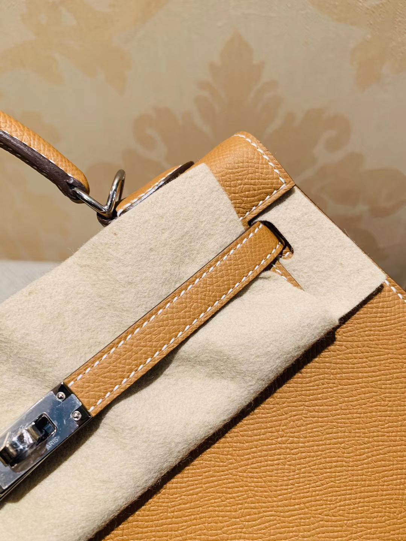 Kelly 凯莉包 25cm Ck37 Gold 金棕色 Epsom 小牛皮 外缝 银扣