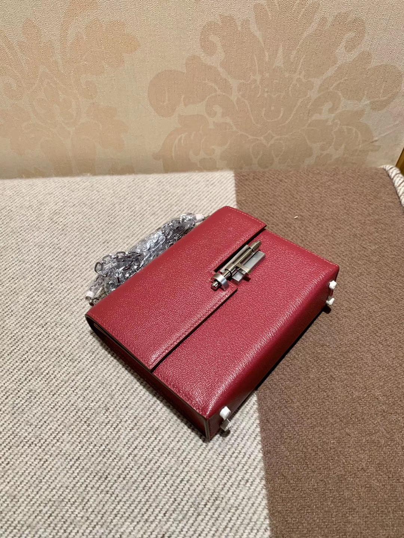 机关枪 叉烧包 Verrou 小号17cm K1石榴红 rouge grenat 山羊皮 银链 很漂亮的暗红色