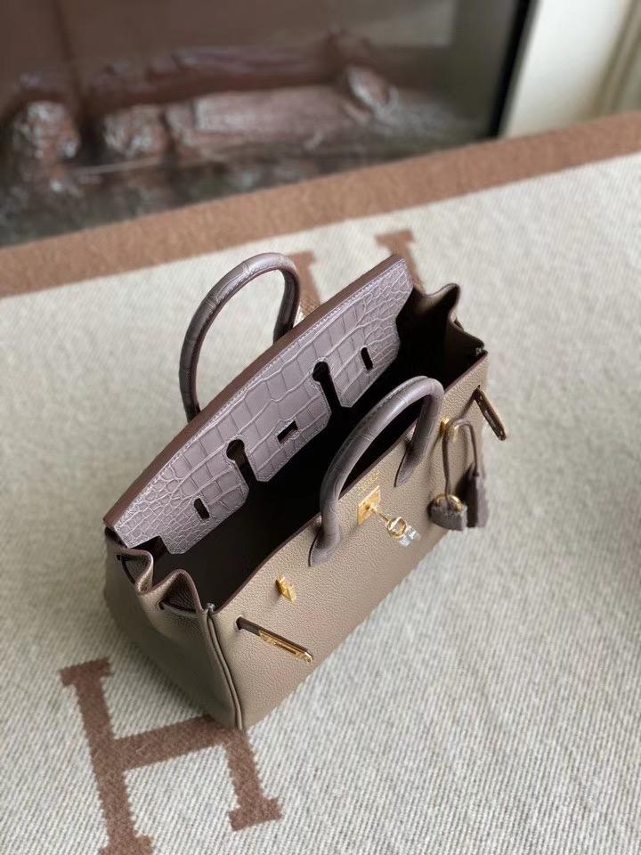 Birkin Touch 25 Ck18 etoupe 大象灰雾面美洲鳄鱼+拼togo皮 金扣